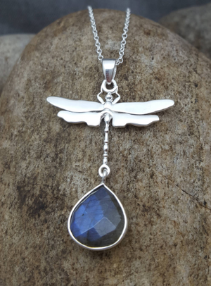 DRAGONFLY LABRADORITE SILVER NECKLACE