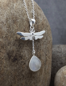 DRAGONFLY MOONSTONE SILVER NECKLACE