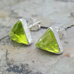 ARROW PERIDOT SILVER STUD EARRINGS