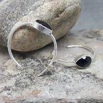 GOTA DE ORO BLACK ONYX SILVER HOOP EARRINGS