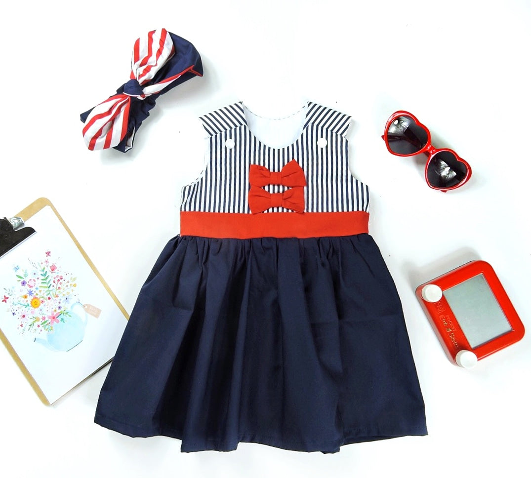 Red Bows Dress ( navy stripes)