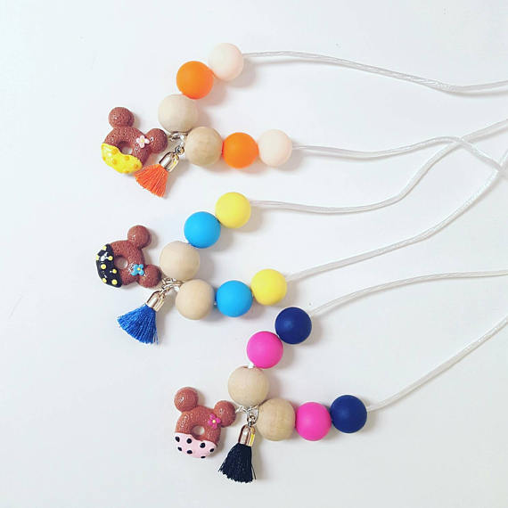 minnie mouse - silicone - wooden beads necklace - donuts - Necklace for girls - donuts necklace - candy jewelry - donuts necklace