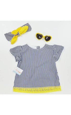Navy Stripes Top Set