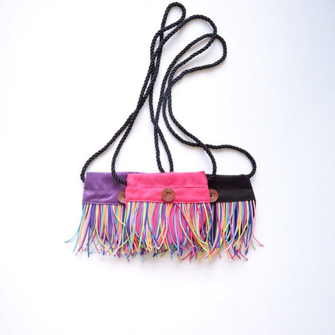 Girl handbag - Fringe Handbag - Little Girl Purse - Rainbow Bag - Shoulder bag - Crossbody - Boho - Girl handbag - Rainbow bag - Purse