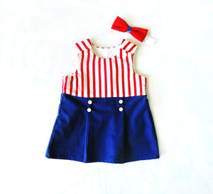 Sailor Dress ( red stripes)