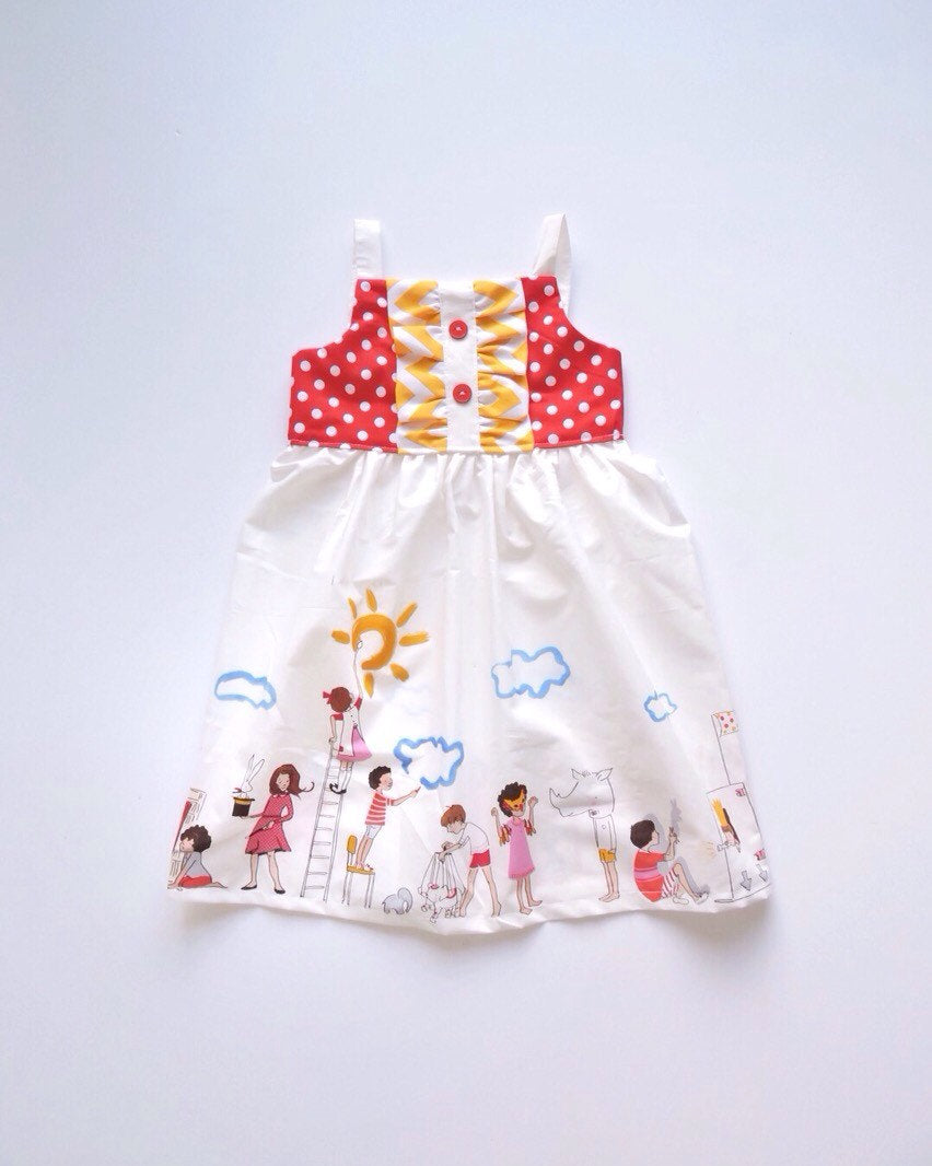Children at Play Dress (Red)