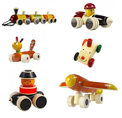 Set of 6 Colorful Wooden cars and Baby Toys with wheels