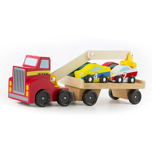 Magnetic Car Loader Wooden Toy Set with 4 Cars and 1 Semi Trailer Truck,