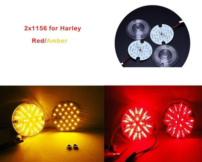 1 Pair 2X30 Smd Led Motorcycle 1156 Rear Turn Signal Panel Light With 2 Lampshade For Harley Davidson Touring Red/amber Lighting