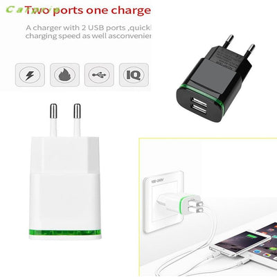 Carprie 2 Usb Ports Charger For Iphone Ipad Samung Light Led Eu Plug 5V 4A Wall Adapter Mobile Universal Charging Phone Chargers