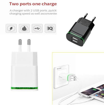 Carprie 2 Usb Ports Charger For Iphone Ipad Samung Light Led Eu Plug 5V 4A Wall Adapter Mobile Universal Charging Phone United States /