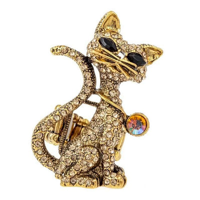 Cat Stretch Ring Halloween Bling Jewelry Gifts For Women Girls Kids Animal Charm Wholesale Dropship Resizable / Gold United States Charms