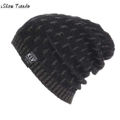 Dropshipping Beanie Winter Hats Cap Men Stocking Hat Beanies Stripe Knitted Hiphop Male Warm Wool Winter#22 Black / United States Mens