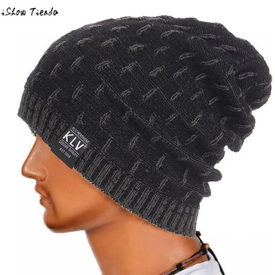 Dropshipping Beanie Winter Hats Cap Men Stocking Hat Beanies Stripe Knitted Hiphop Male Warm Wool Winter#22 Mens