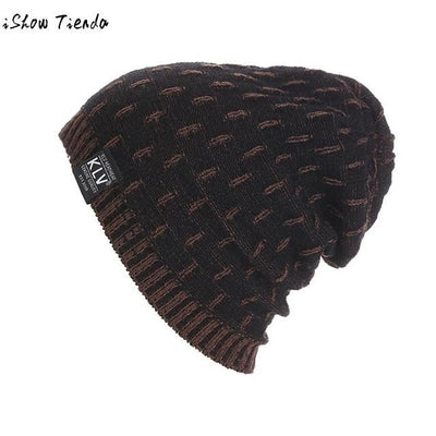 Dropshipping Beanie Winter Hats Cap Men Stocking Hat Beanies Stripe Knitted Hiphop Male Warm Wool Winter#22 Gray / United States Mens