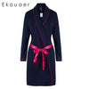Ekouaer Sexy Women Kimono Robe Bath Robe With A Belt Spring Soft Nightwear Long Sleeve Dark Blue And Gray Sleepwear Womens Sleep & Lounge