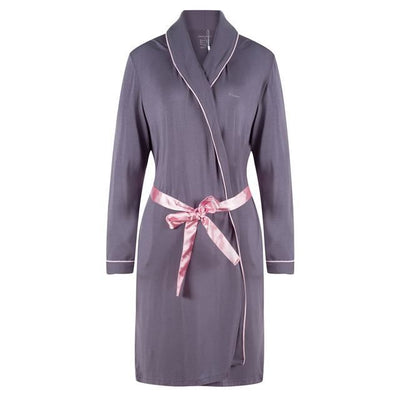 Ekouaer Sexy Women Kimono Robe Bath Robe With A Belt Spring Soft Nightwear Long Sleeve Dark Blue And Gray Sleepwear / Xxl United States