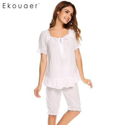 Ekouaer Vintage Pajamas Set Women Lace Patchwork Sleepwear Victorian Short Sleeve Nightwear Summer Cute Nightgown Female Pajama Womens Sleep