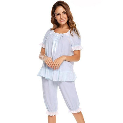 Ekouaer Vintage Pajamas Set Women Lace Patchwork Sleepwear Victorian Short Sleeve Nightwear Summer Cute Nightgown Female Pajama Blue / Xl