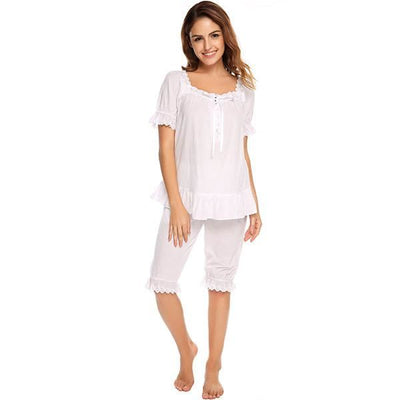 Ekouaer Vintage Pajamas Set Women Lace Patchwork Sleepwear Victorian Short Sleeve Nightwear Summer Cute Nightgown Female Pajama White / L