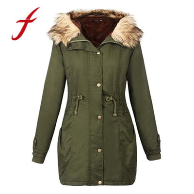 Feitong 2018 Fashion Ladies Womens Winter Parkas Causal Fur Collar Jacket Hooded Long Coat Size Outwear Hoodies
