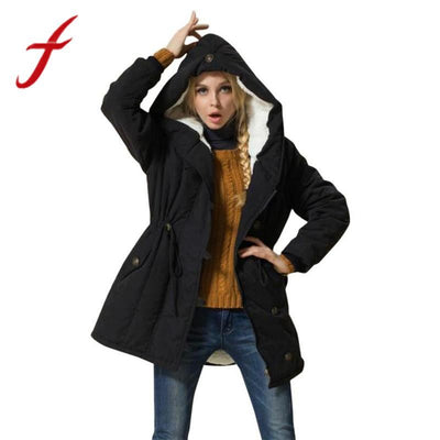 Feitong Fashion Korean Winter Warm Womens Coat Jacket Lambswool Cotton Padded Parka Thicker Outwear Hoodies Parkas 2018 New