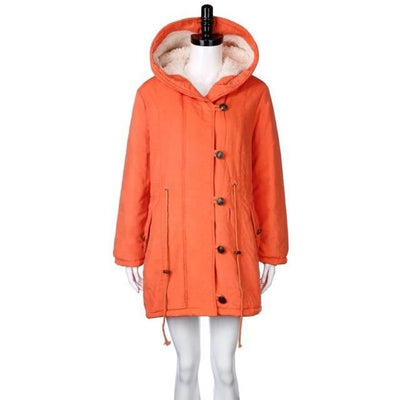 Feitong Fashion Korean Winter Warm Womens Coat Jacket Lambswool Cotton Padded Parka Thicker Outwear Hoodies Parkas 2018 New Orange / Xl