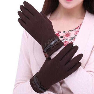 Feitong Womens Touching Screen Gloves 2018 New Ladies Winter Warm Elegant Lace Splice Mittens Cashmere Female Gants Brown / United States &