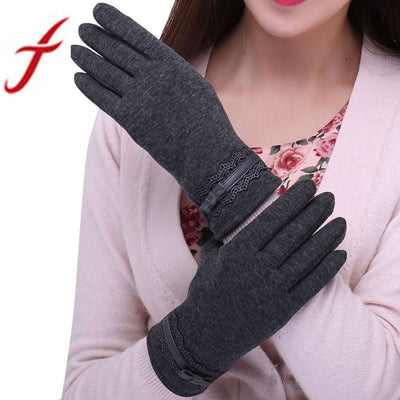 Feitong Womens Touching Screen Gloves 2018 New Ladies Winter Warm Elegant Lace Splice Mittens Cashmere Female Gants &