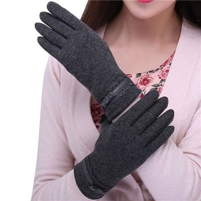 Feitong Womens Touching Screen Gloves 2018 New Ladies Winter Warm Elegant Lace Splice Mittens Cashmere Female Gants Gray / United States &