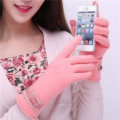 Feitong Womens Touching Screen Gloves 2018 New Ladies Winter Warm Elegant Lace Splice Mittens Cashmere Female Gants Pink / United States &