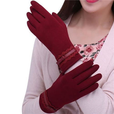Feitong Womens Touching Screen Gloves 2018 New Ladies Winter Warm Elegant Lace Splice Mittens Cashmere Female Gants Red / United States &