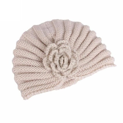 Knitted Wool Winter Caps Fold Floral Solid Beanie Hats Cap Gor Women Winds Up Female Autumn Hat Gorro Feminino#9951 Beige / United States