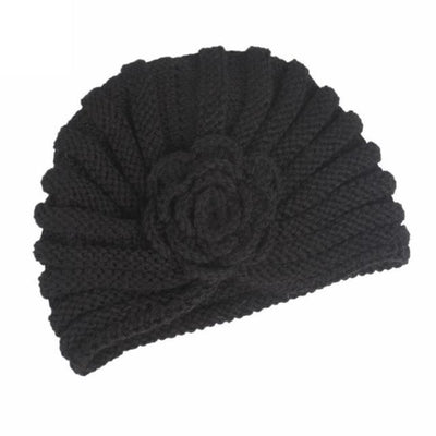 Knitted Wool Winter Caps Fold Floral Solid Beanie Hats Cap Gor Women Winds Up Female Autumn Hat Gorro Feminino#9951 Black / United States