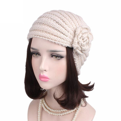 Knitted Wool Winter Caps Fold Floral Solid Beanie Hats Cap Gor Women Winds Up Female Autumn Hat Gorro Feminino#9951 Womens &