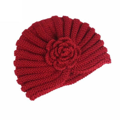 Knitted Wool Winter Caps Fold Floral Solid Beanie Hats Cap Gor Women Winds Up Female Autumn Hat Gorro Feminino#9951 Red / United States