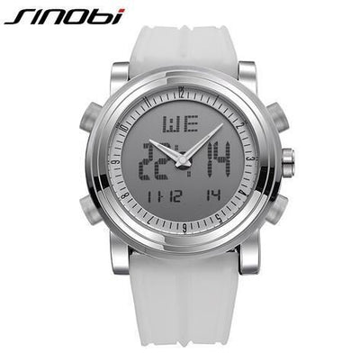 New Sinobi Brand Sports Chronograph Mens Wrist Watches Digital Quartz Double Movement Waterproof Diving Watchband Males Clock 11S9368G01 /