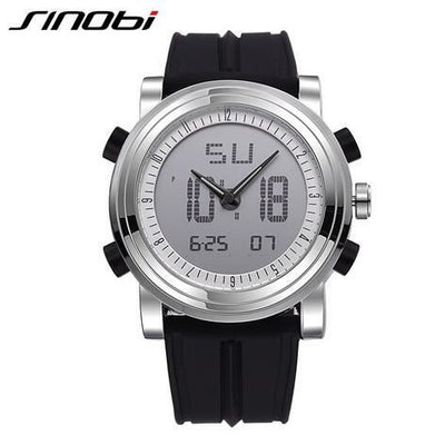 New Sinobi Brand Sports Chronograph Mens Wrist Watches Digital Quartz Double Movement Waterproof Diving Watchband Males Clock 11S9368G02 /