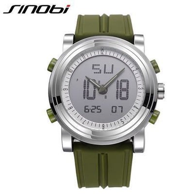 New Sinobi Brand Sports Chronograph Mens Wrist Watches Digital Quartz Double Movement Waterproof Diving Watchband Males Clock 11S9368G03 /