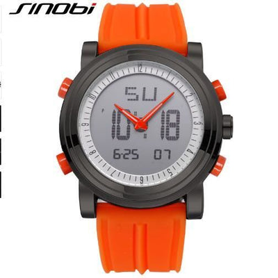 New Sinobi Brand Sports Chronograph Mens Wrist Watches Digital Quartz Double Movement Waterproof Diving Watchband Males Clock 11S9368G04 /