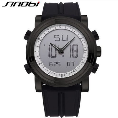 New Sinobi Brand Sports Chronograph Mens Wrist Watches Digital Quartz Double Movement Waterproof Diving Watchband Males Clock 11S9368G05 /