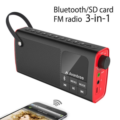 Avantree Portable Speaker 3-in-1 Bluetooth FM Radio SD Card Player Outdoor Indoor One Click Entry Replaceable Battery-SP850 - Dropshipper US