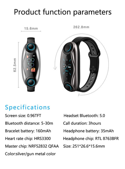 Lemado bluetooth earphones smart watch