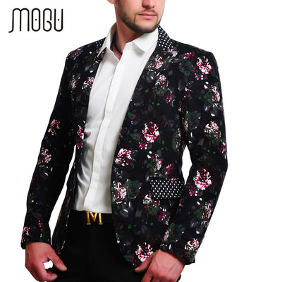 MOGU 2017 Mens Floral Blazer 100% Cotton Flower Print Blazers For Men Large Size Slim Fit Blazer Men Costume Homme Men Blazer - Dropshipper US