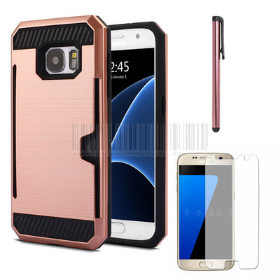Anti-shock Heavy Duty Hybrid Brush Card holder Back Hard Case Cover With Films+Stylus For Samsung Galaxy S7 G930 G9300 - Dropshipper US