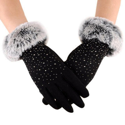 Women Gloves Warm Winter Play Phone Fur Gloves Rhinestone Beauty Elegant Gloves Luva Feminina#A11 - Dropshipper US
