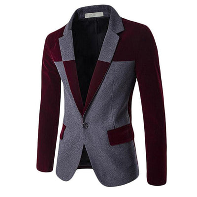 MOGU 2017 Blazers for Men Wool Blends Contrast Color Men Blazer Slim Fit Big Size Casual Mens Blazer Jacket terno masculion - Dropshipper US