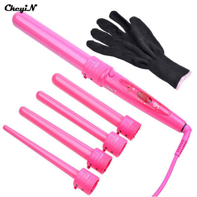 Pro 09-32mm 5 size Hair Curling Iron with Glove Cylindrical 5 Curling Irons Wand 5P Ceramic Perm Hair Curler Wand Rollers A3940 - Dropshipper US