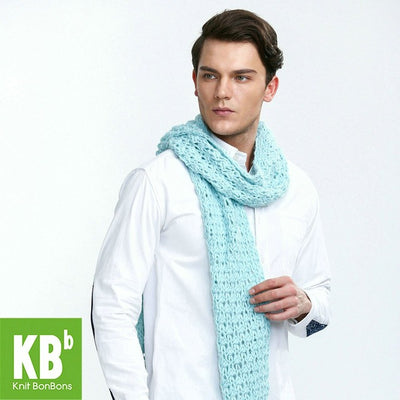 2017 KBB Spring    Stylish Pure Lake Blue Cute Lace Style Warm Winter Yarn Knitted Men Neck Cover Scarf Wrap Scarves - Dropshipper US