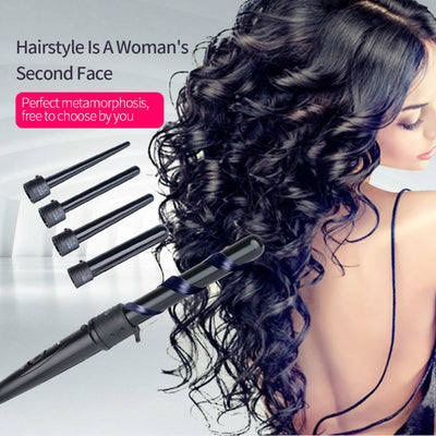 5in1 Hair Wand Curler 09-32mm Removable Cylindrical Conical Curling Iron Hair Curler Electric Curling Wand Hair Styler curler 43 - Dropshipper US